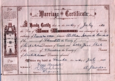 1920 Howard and Lottie marriage certificate