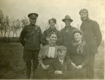 1945 Back, Percy Burdett, Lottie Shiels, Howard Burdett, Thomas Shiels; Front, Rachel Shiels, Albert Burdett, Louise Maude Burdett