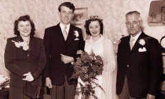 1953 Dewi and Jeannette wedding with David and Vi