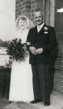 1953 Vi and David Owen Jones on Vi wedding day
